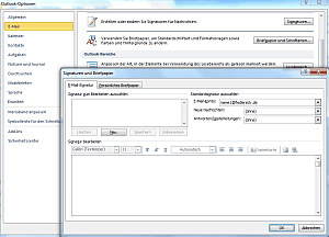 Signatur in Outlook 2010